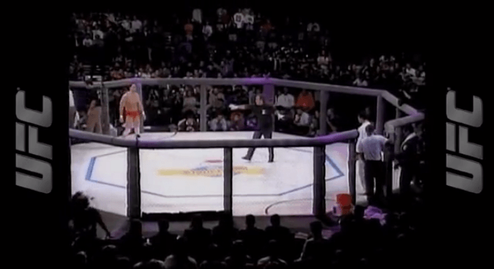 Ken Shamrock and Royce Gracie in the octagon UFC 1.