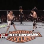 Brock lesnar and Frank mir inside the UFC octagon UFC 81.