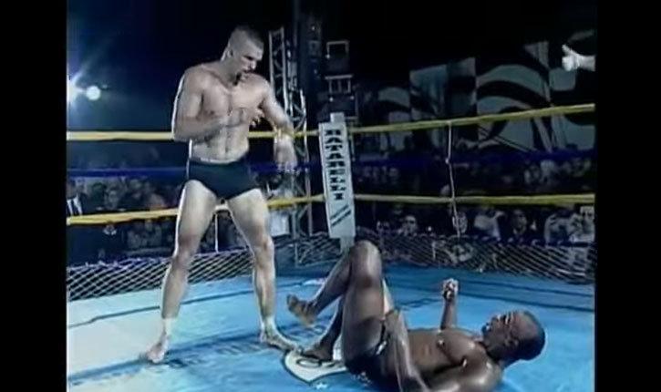 Chuck Liddell And Jose Pelé Landi Inside The Ring.