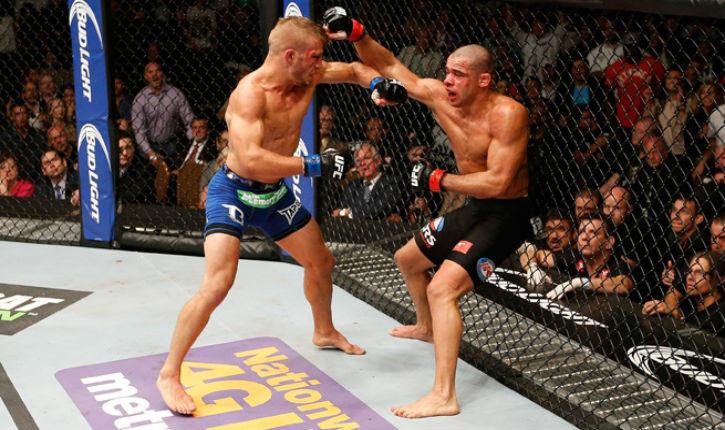 TJ Dillashaw blasts champion Renan Barao at UFC 173.