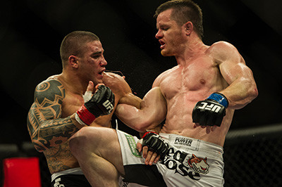 The Doberman CB Dollaway fighting in the UFC.