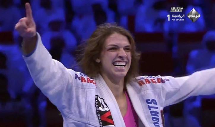 Mackenzie Dern celebrates after defeating Gabi Garcia World Pro 2015.