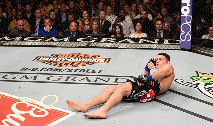 Nick Diaz on the canvas at UFC 183.