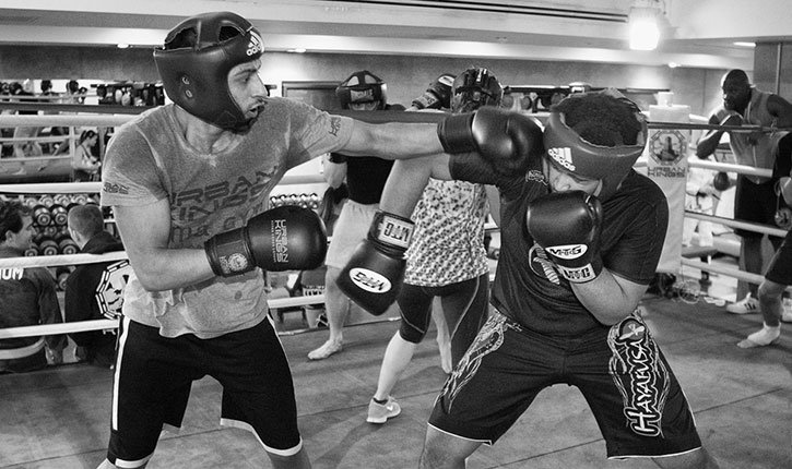 Boxing sparring mma inside the gym.