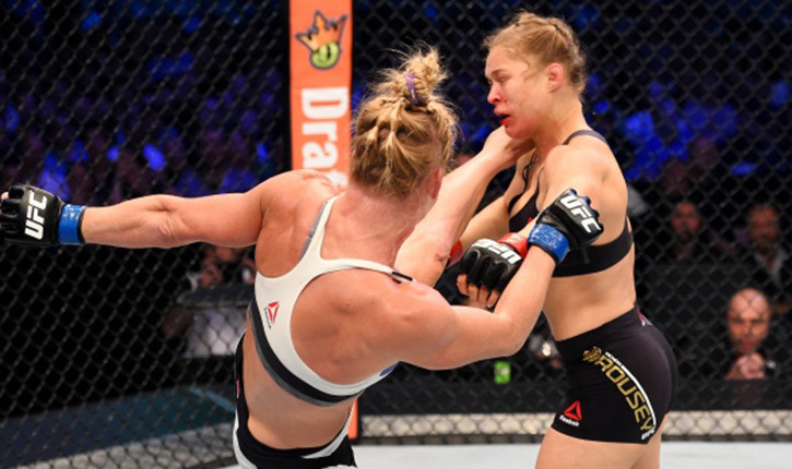 Rousey knocked out by holly holm at UFC 193.