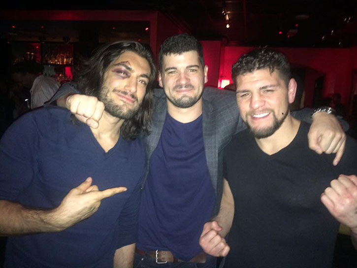 Hanging with Nick Diaz and Elias theodorou at UFC 194 afterparty.
