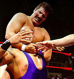 Dan Severn in the WWF wrestling league.