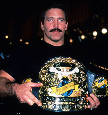 Dan Severn with Ultimate Fighting championship belt.