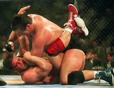 Ken shamrock vs Dan Severn in the UFC.