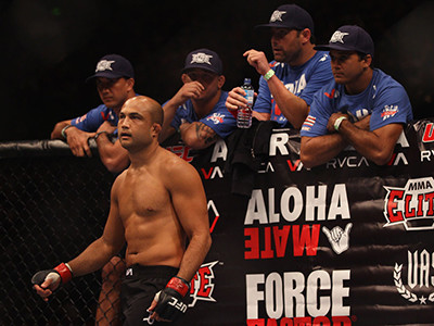 Bj Penn Of The Usa Looks Across The Octagon At John Fitch Of The Usa Before The Start Of Their Welterweight Bout Part Of Ufc 127 At Acer Arena On February 27, 2011 In Sydney, Australia. (Photo By Mark Kolbe/Getty Images) *** Local Caption *** Bj Penn