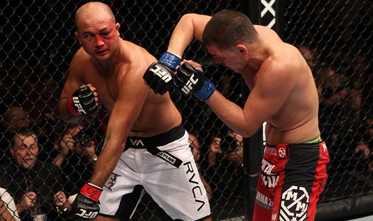 Bj Penn And Nick Diaz Exchange Blows.