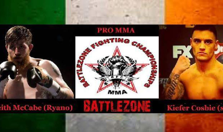 keith mccabe vs Kiefer Crosbie Battle zone 15 poster.