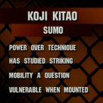 Fighter statistics for Koji Kitao fought at UFC 9.
