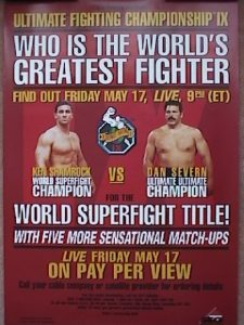 UFC 9 poster with ken Shamrock and Dan Severn.