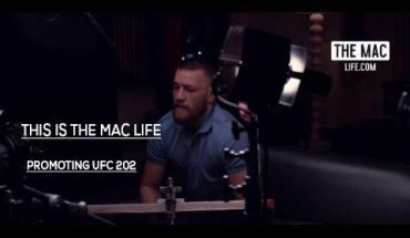 Conor McGregor promoting UFC 202 in the rematch with Nate Diaz .