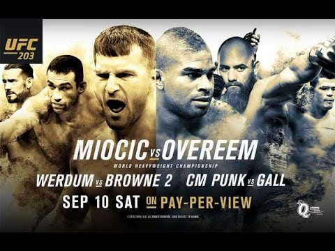 UFC 203 predilections and breakdown poster.
