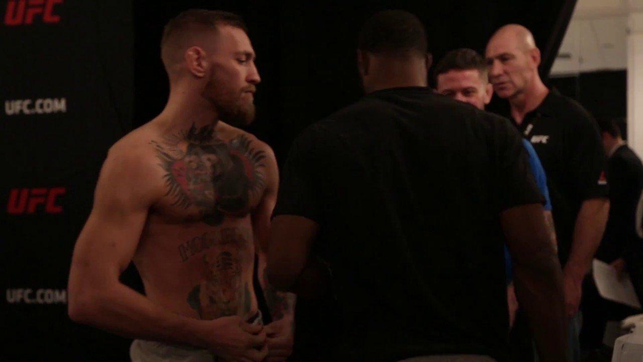 Conor Mcgregor And Tyron Woodley Backstage Meeting.