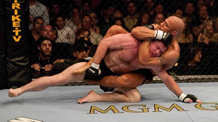 Matt Hughes escapes Frank Trigg's choke.