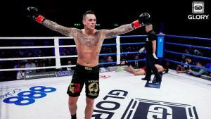Nieky Holzken celebrates another stoppage in Glory kickboxing.