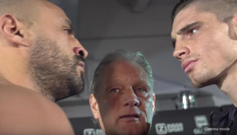 Badr Hari vs Rico Verhoeven pre-fight staredown.