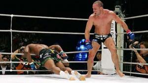 Wanderlei Silva sends Quinton Jackson through the ropes.