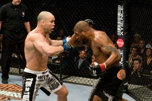 Quinton Jackson throwing the left hook that finishedWanderlei Silva in the third fight.