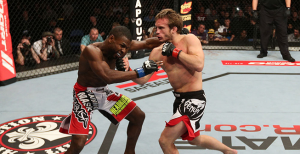 Brad Pickett lands the famous knockout blow on Yves Jabouin.