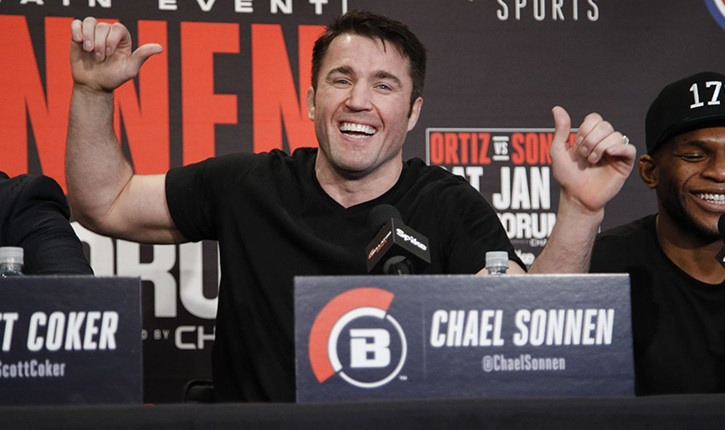 Chael Sonnen laughing with fellow fighters Bellator.