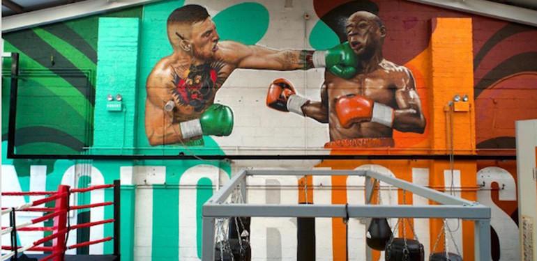 McGregor vs Mayweather mural Dublin.
