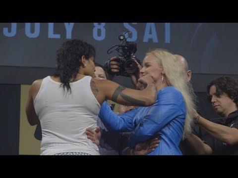 Amanda Nunes vs challenger Valentina Shevchenko UFC 213 faceoff.