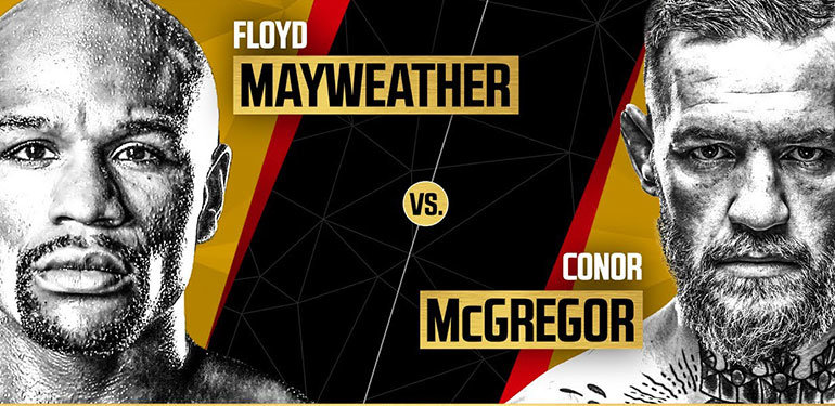 Floyd Mayweather vs Conor McGregor London press Conference poster.