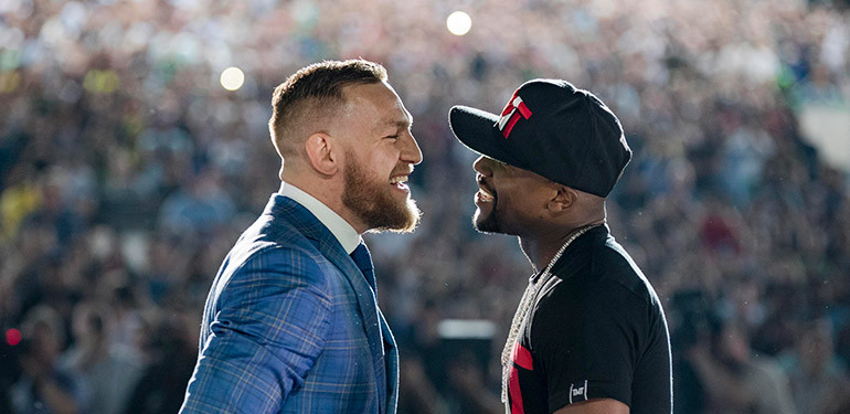 Conor McGregor vs Floyd Mayweather face to face.