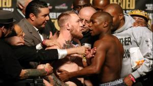 McGregor and Floyd weigh-in face off.