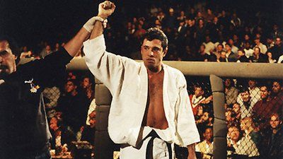 Royce Gracie UFC 1 win having hand raised.