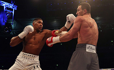 Anthony Joshua against Wladimir Klitsschko in Wembley.