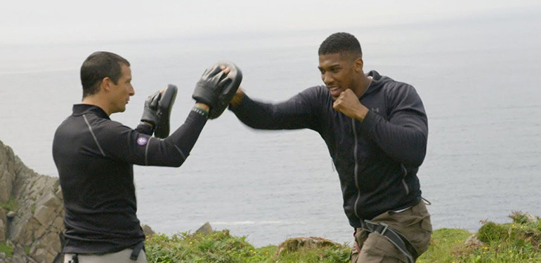 Anthony joshua with bear grylls.