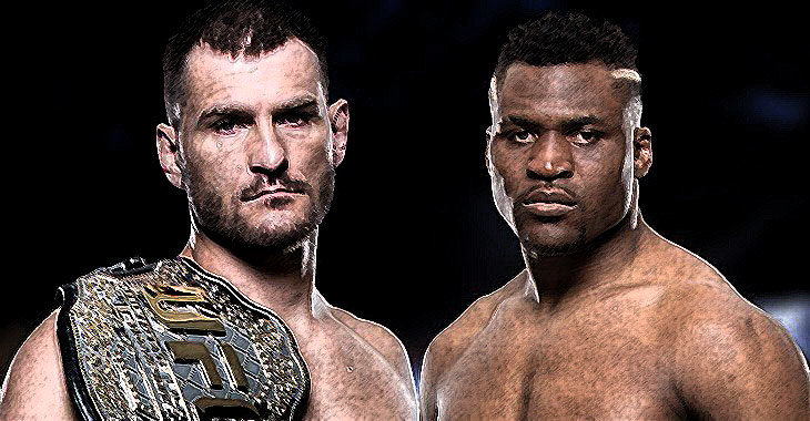 Stipe Miocic versus francis Ngannou faceoff in the UFC.