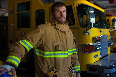 Stipe miocic ufc champion at work in firehouse.