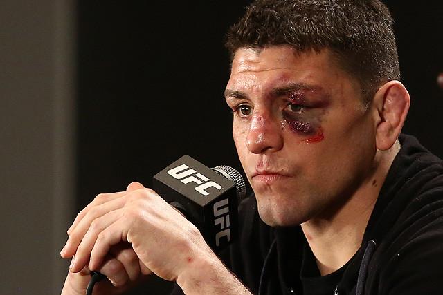 Post fight Nick Diaz speaks with media.