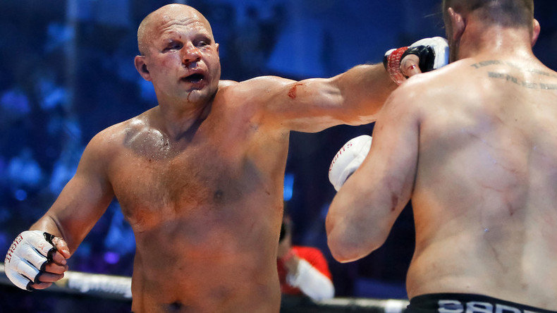 Fedor landing a left hand punch.