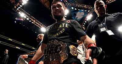 Khabib Nurmagomedov wins at UFC 223.