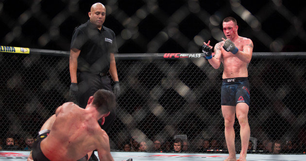 Colby Covington gives middle finger.