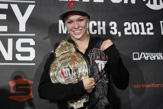 Ronda Rousey with the Strikeforce belt.