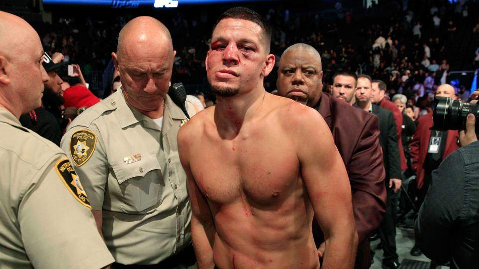 Nate Diaz leaves the UFC Octagon after a fight.