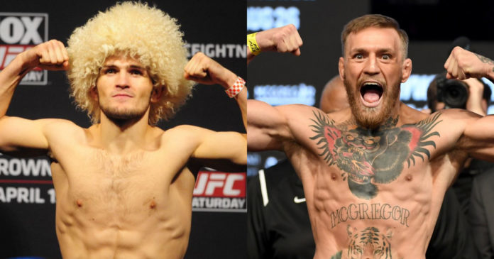 Khabib Nurmagomedov and Conor McGregor weigh-in.