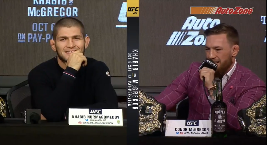 Conor McGregor and Khabib Nurmagomedov at UFC 229 press conference.