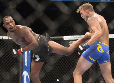 Jones throws a spinning kick in the Alexanders Gustafsson fight.