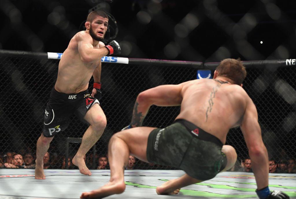 Khabib lands a huge right hand UFC 229.
