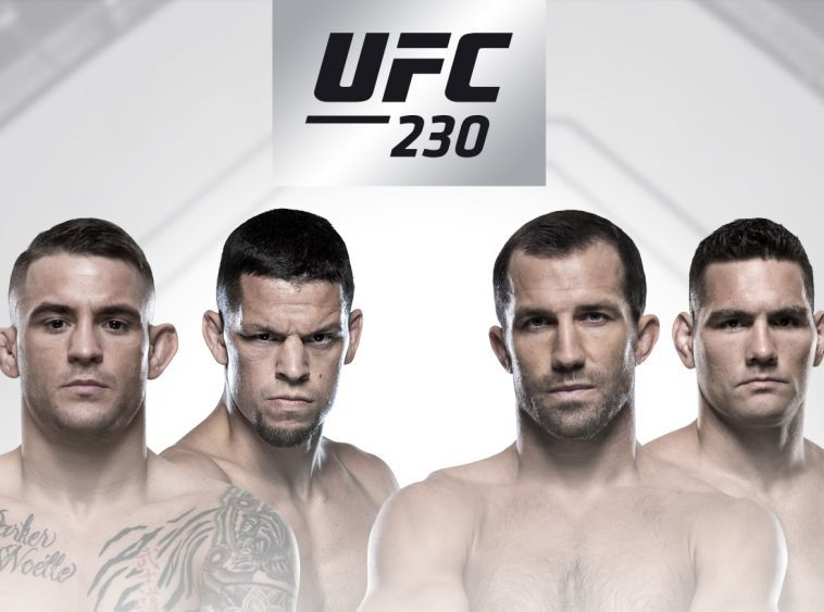 Fighters pose for main event poster at UFC 230.