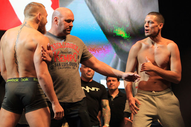 Conor McGregor and Nate Diaz mouth off at weigh-ins.